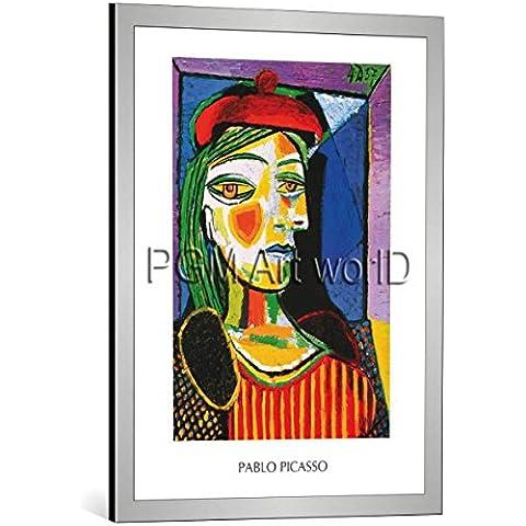 """Quadro con cornice: Pablo Picasso """"Femme au beret rouge"""" - stampa artistica decorativa, cornice di alta qualità, 60x80 cm, Argento spazzolato"""