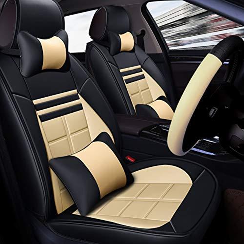 4-Jahreszeiten-Schutzpolster für Airbag mit Kissen vorne und hinten 5-Sitzer-Set aus Universalleder Sitzkissen (Color : Beige) ()