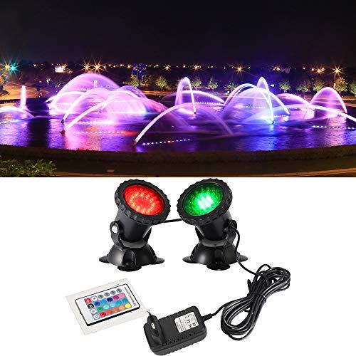 DOCEAN Aquarium Lampen Unterwasserleuchte Spotlicht RGB LED Aquarien Licht Lampe Beleuchtung 2 in 1 Set Deko Mit 24 Tasten RF Fernbedienung IP68 für Fisch Tank Pool Brunnen - 12 Moderne Landschaft Beleuchtung