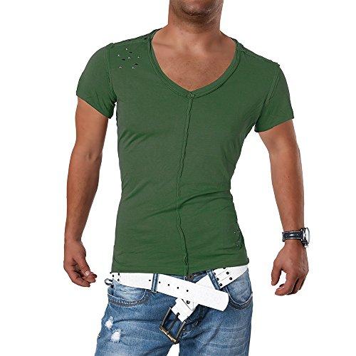 M422 STEGOL Herren Shirt Poloshirt T-Shirt Kurzarm V-Neck Clubwear V-Ausschnitt Olivgrün