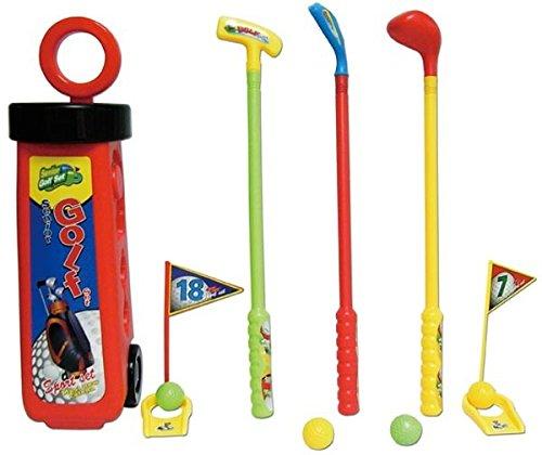 Golf Set mini rot für Kinder mit Caddie Schläger 4 Bälle Kindergolf Minigolf