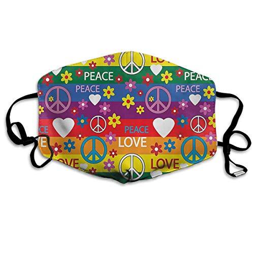 Herz Friedenssymbol Flower Power Politischer Hippie Fröhlich Farben Festival Freudig Unisex Anti-Staub Solide Baumwolle Ohrbügel Gesicht Mund Maske Muffel