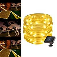 50 LEDs Warm White Solar Power String Lights, Waterproof Decorative Rope Light for Outdoor Christmas Tree, Garden, Patio, Party, Wedding, Lawn, Holiday, Festival