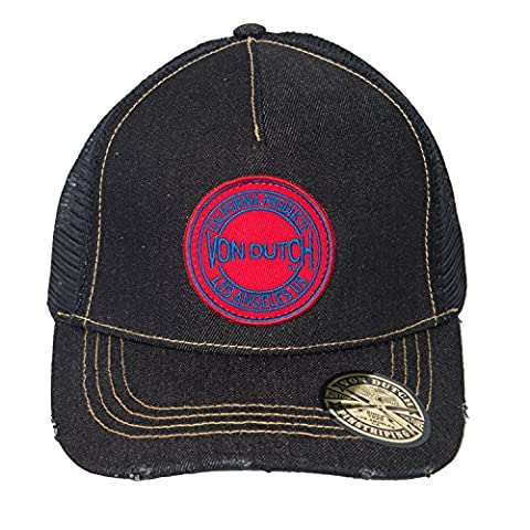 Von Dutch Men's Denim Red Patch Trucker Hat-One Size