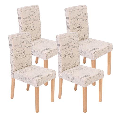 4x Esszimmerstuhl Stuhl Lehnstuhl Littau ~ Textil mit Schriftzug, creme, helle Beine