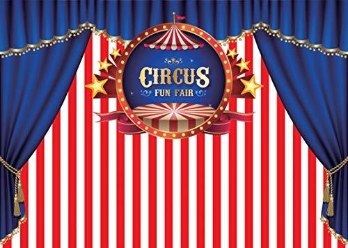 5M Geburtstag Zirkus Fotografie Hintergrund Kulissen Streifen Zelt Karneval Hintergrund Baby Dusche Party Dekor Foto Hintergrund für Brauch 11-083 ()