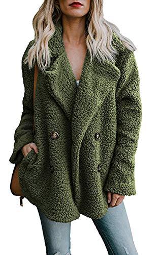ECOWISH Damen Casual Mantel Faux Für Revers Lange Ärmel Outwear Vordere Leistentaschen Zweireihig Coat Armeegrün M