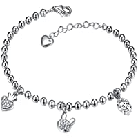 Viyino Women's Heart and Star and Flower Beaded Charm S925 Sterling Silver Cubic Zirconia Bracelet mhlk6nn