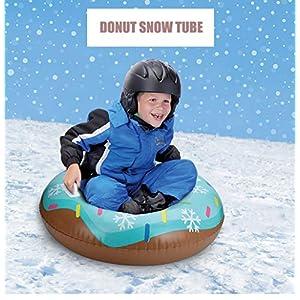 Aufblasbare Schlitten, Aufblasbarer Snow Tube,Platzsparenden Schwerlast Schnee Schlitten mit Griff Schneeflocken Außen Lustig Skifahren Vorräte für Kinder Erwachsene