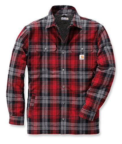Carhartt Hubbard Shirt mit Webpelzfutter, Größe:L, Farbe:rot -