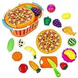 Forweilai Spielzeug Lebensmittel Kinder - 24 Stück Spielküche Zubehör - Korb mit Schneide Gemüse und Obst - Plastik Lebensmittel Kinder-Rollenspiele - (Orange)