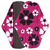 Ularma Reusable Charcoal Bamboo Mama Pads/ Menstrual Pads Cloth/ Sanitary Napkins Pad -Night time protection (L, Hot Pink)