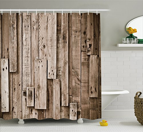 Fabric Shower Curtain Country Decor by Ambesonne , Old Wooden ...