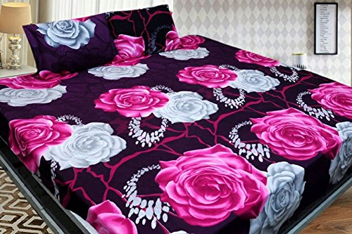 BALAJI FABƒ?› Cotton Floral Printed Double Bedsheet with 2 Pillow Covers, Full Size (Multicolour)