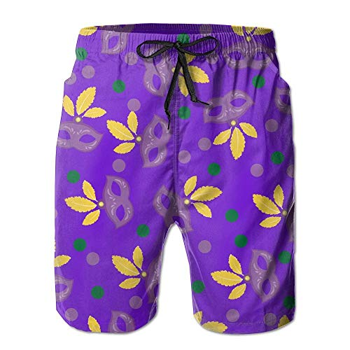 ZR-Go Men's Mardi Gras Mask Dot Quick-Dry Summer Beach Surfing Board Shorts Swim Trunks Cargo Shorts L (Outfits Mardi Gra)