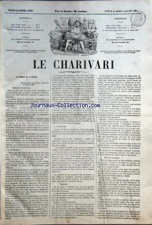 CHARIVARI (LE) du 02/01/1865 - LA SEMAINE DE LA BOURSE / M. LEMARDELAY -ARTICLE DE A. BREMOND