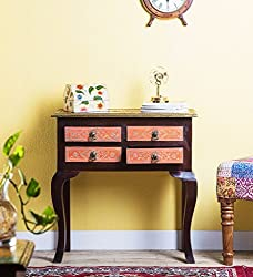 Theshopy Wooden Hand Made 4 Drawer Consol Table With Brass Ftd Size:-28x13x29 A535