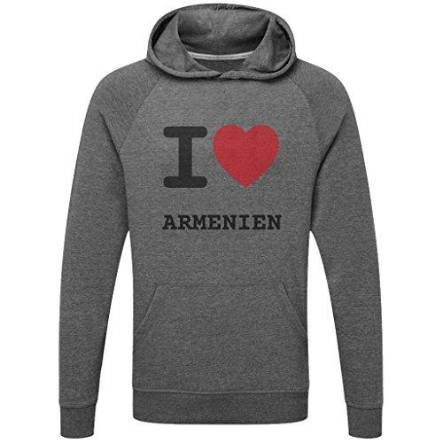 JOllify ARMENIEN Funktions Pullover Hoodie mit hochwertigem Druck für Sport und Freizeit - Größe: M - Farbe: grau Charcoal