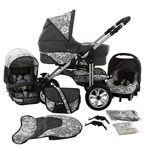 Chilly Kids Matrix Lancer Kinderwagen Safety-Set (Autositz & ISOFIX Basis, Regenschutz, Moskitonetz, Schwenkräder) 64 Graphit & Graphit Blumen