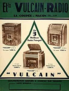 Plaque en métal poster Vulcain Radio ANNÉES 1930Français A412x 8en aluminium