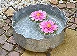 Zinkschale-dekorative robuste Wasserdichte Pflanzschale-Kleiner Teich-Durchmesser 48 cm -sehr stabil + praktisch- Zinkwanne antik robust- für Haus und Garten