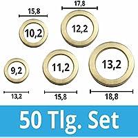 50 Stück Fitschenring- Sortiment Ø 9 / 10 / 11 / 12 / 13 mm Stahl vermessingt Unterlegscheibe Türscharnier Fitschenringe-50 Tlg.Set