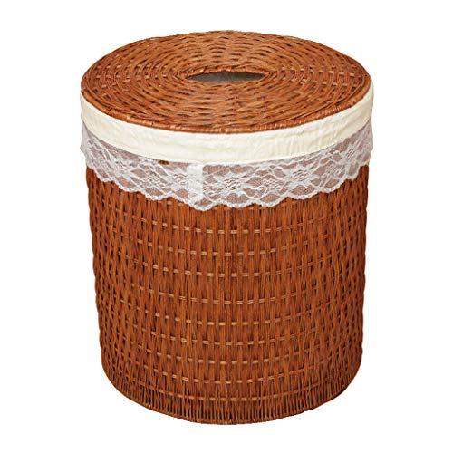 ZHAOSHUNLI Panier à linge Panier de blanchisserie de panier de stockage de jouet de rotin de panier de blanchisserie avec la dentelle de couvercle (Color : Brown, Size : S)