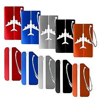 Étiquette Bagages, 10pcs Bagages étiquettes en Alliage d'aluminium, Mix Couleurs étiquettes Valise + Cordes en Acier Inoxydable