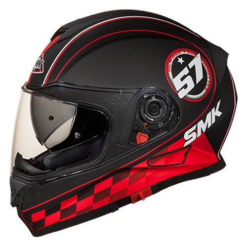 SMK MA236 Twister Blade Graphics Pinlock Fitted Full Face Helmet With Clear Visor (Matt Black, Red and Grey, L)