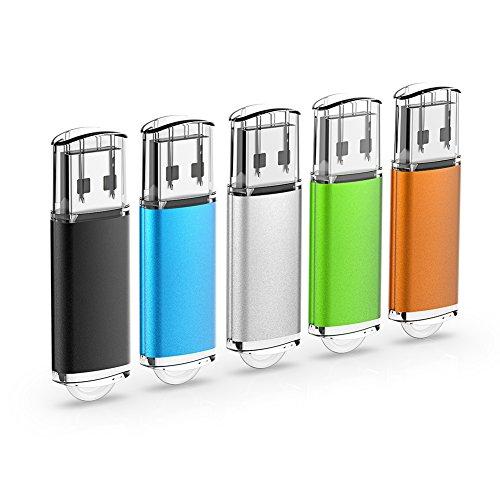RAOYI 5 STÜCKE 32 GB USB-Sticks Thumb Drives Memory Stick USB 2.0 JumpDrive (5 Farben: Schwarz Blau Grün Orange Silber) Ein Stück Handle