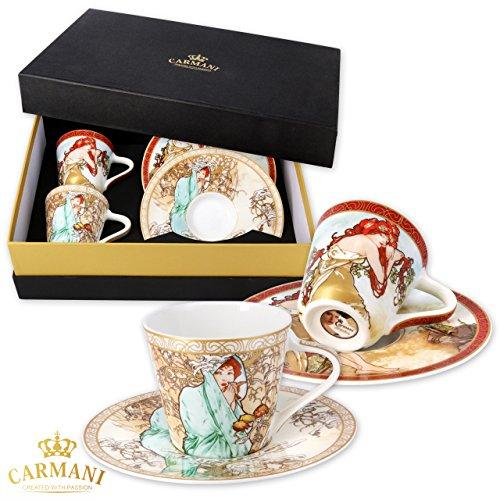 """CARMANI - Set mit 2 kleinen Tassen und Untertassen mit \""""Herbst und Winter\"""" Gemälden von Alphonse Mucha"""