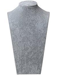 1x grises Oficina de terciopelo Busto joyas 14,5x24cm Busto decoración Soporte de joyas Soporte para collares Titular de la joyería Expositor de bisutería