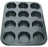12 CUP MUFFIN, CUP CAKE BUN TRAY TIN PAN NON STICK -LIMITED LOW PRICE OFFER
