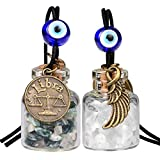 Zodiac Libra Angel Wings Small Car Charms Or Home Decor Gem Bottles Moss Agate Quartz Birthstone Amulets