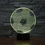 3D Illusione Ottica Led Lampada di Illuminazione Luce Notturna, LSMY Calcio Lampada da Tavolo 7 Colori con Acrilico Caricatore USB per Comodino Bambini Cameretta Casa Festa Decorazione