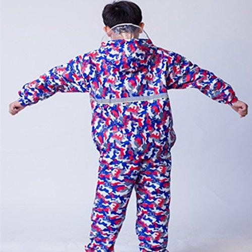 Trennen Kapuze (ALXC- Kinderregenmantel Jungen und Mädchen trennen Regenmantel Regenhose Studentenregenanzug Doppelschicht Regenmantel Anzug Jungen und Mädchen Regenmantel (Farbe : D, größe : XL))
