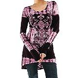 TWIFER Damen Langarm Bluse O Neck Shirt Digital bedrucktes Hemd Pullover Sweater (2XL, Rosa)