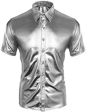 Cusfull Camicie Uomo Slim Fit Dorata Argento con Maniche Corte Eleganti Collo Francese Discoteche Moda Camicia...