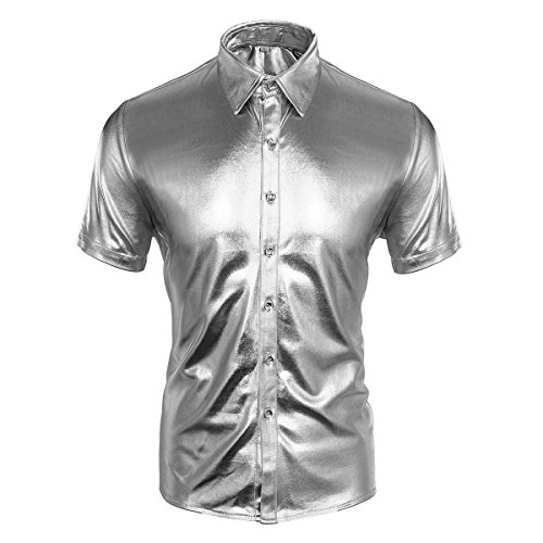 Cusfull Herren Hemd Metallic Glänzend Kurzarmshirt Glitzer Schlank Fit Kostüm für Nightclub Party Tanzen Disco Halloween Cosplay (M, Silber) Metallic-uniform