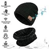 MEETYOO Bonnet Bluetooth, Casquette Hiver Ensemble Bonnets écharpe Chapeau avec Haut-Parleur stéréo pour Homme Femme Ski Running Randonnée