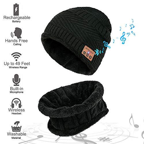 MEETYOO Bluetooth Mütze, Musik Cap Winter Schal Mütze Set Strickmützen Ski Caps mit Bluetooth Stereo Kopfhörer für Damen Herren Skifahren Wandern Laufen