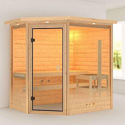 Karibu Sauna Yassin mit Dachkranz (Eckeinstieg) - für niedrige Räume