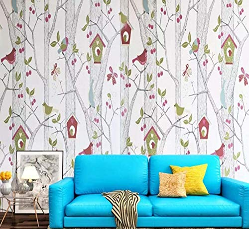 mentapete Karton Baum Vogel Tapetenrolle Für Wohnzimmer Schlafzimmer Home Wall Decor Landschaft Murals3D Tapete Tapetenkleister ()