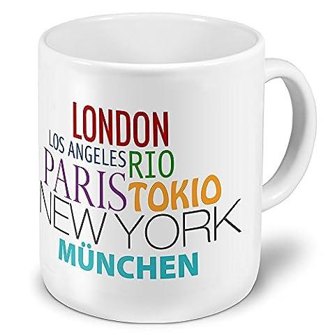 XXL Jumbo-Städtetasse München - XXL Jumbotasse mit Design Famous Cities of the World - Städte-Tasse, Städte-Krug, Becher, Mug