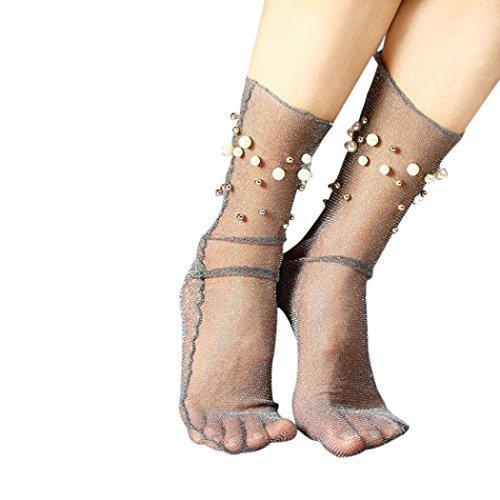 Damen Sommer Rüsche Hohe Socken Transer® Mode Japanischer Stil Ultradünne Transparente mit Perle Dekoration Nylon + Spandex Socken Einheitsgröße (Grau) (Chiffon Rüschen-socken)