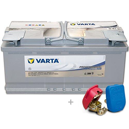 Preisvergleich Produktbild Varta Professional AGM LA105 - 12 V / 105 Ah - 950 A/EN inkl. Easy Click Batterieklemmen