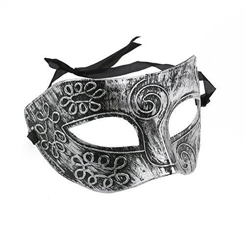 a-goo Herren Masquerade Masken Face venezianische Maske, Masken für Fancy Dress Ball/maskiert Ball/Halloween (Silber)