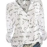 Chemis Femmes Col V Button Haut Manches Longues Impression De Lettre Tops Plus Size Pull BasiqueSANFASHION(Blanc,54FR/L25)...