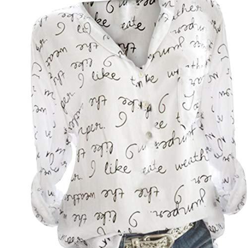 SANFAHSION Chemise Florale Haut Chic Femme Shirt Col V Tee Tops Lin Manche Longue Mode Vetement Casual Basique Habite Travaille Automne Hiver(Bleu Clair.3XL)