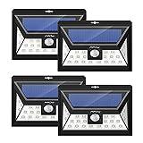 Mpow 4 Stück 24 LED Solarleuchten Weitwinkel LED Solar Wandleuchte Außen Solar Betriebene Außenleuchte, Wandleuchte, Energiesparende Wasserdichte 3 Modi Sicherheit Bewegungs-Sensor-Licht für Garten, Patio, Deck, Hof
